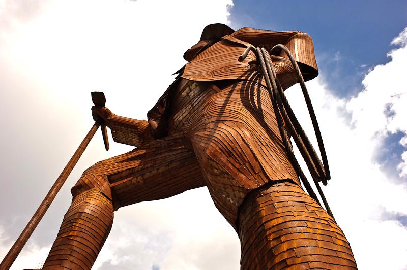 sculpture en corten, extérieur, métal, acier corten,