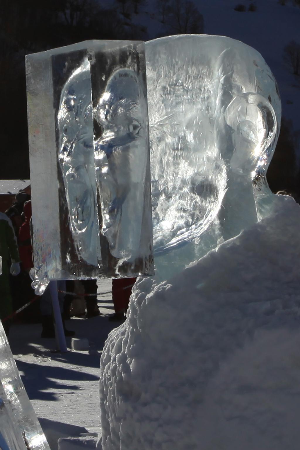 photo de la sculpture sur glace représentant une tête d'homme qui crie, son visage est pris dans un bloc de glace, mais on le voit par transparence. L'on peut voir le visage deux ou trois fois par reflet sur les différentes faces du cube.